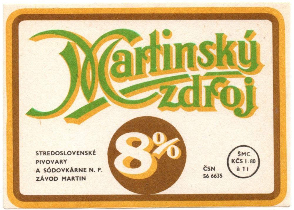 Martinský zdroj, etiketa, pivné etiketa, martinské pivo,